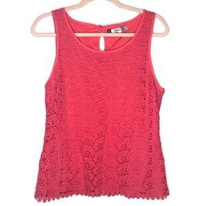 Jennifer Lopez pink floral lace sleeveless tank